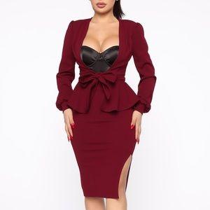 Wine🍷 Blazer•Tie Up Front•Matching Skirt Set